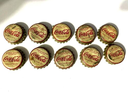 A Lot of Ten Used Coca Cola Cork Lined Soda Bottle Caps