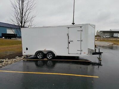 New 2019 7x18 V-nosed Enclosed Cargo Motorcycle Trailer Ramp Side Door