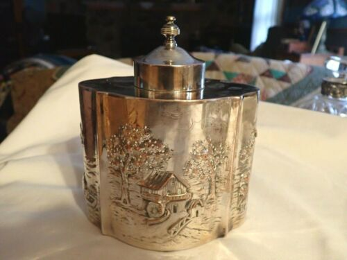 """Vintage silver plate silverplate Canister Box Repousse 5"""" x 6"""" hallmarks"""