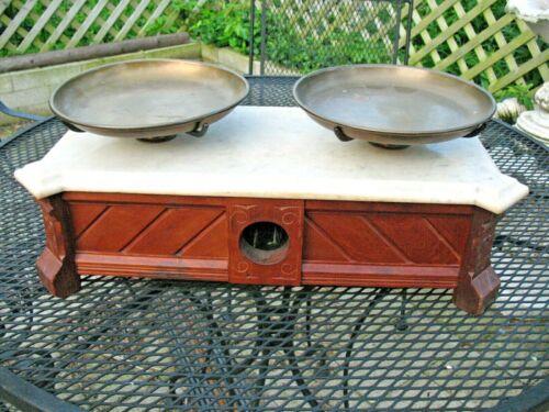 1880 Henry Thromner Drug Store Scale Marble Top Walnut Wood Case Eagle Brass Pan