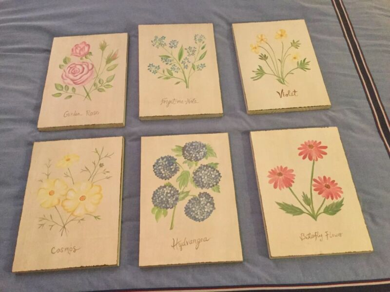 Pottery Barn Kids Set Of 6 Flower Wood Plaques PRETTY