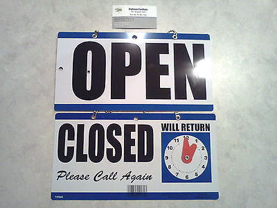 Open Closed Sign With Clock That Has Movable Hands