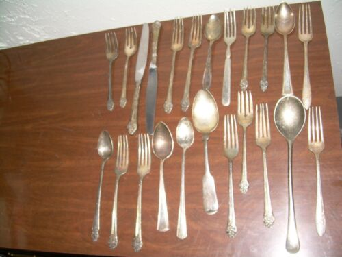 Lot Of 23 Vintage Antique Silverplate Silverware Serving spoons forks Knives