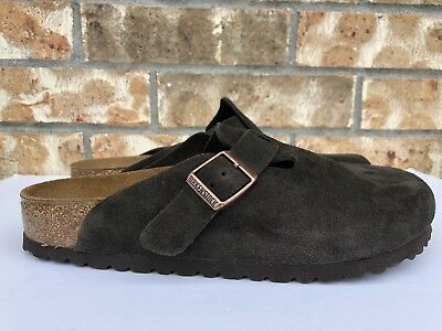 Women's Birkenstock Boston Clog Super Grip Suede Leather Mocha Size L7 0060901 ()