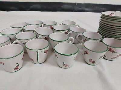 Vintage Joe Colombo Arno Italy hand painted  Coffee/tea 18Cups & 18Saucers rare