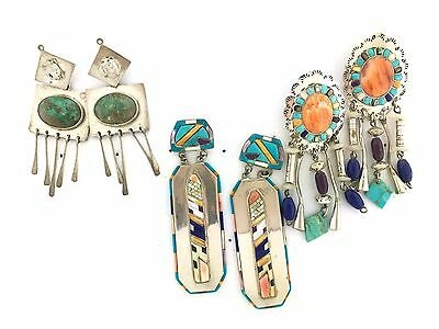 Sterling Silver Beachy Trio Native American Inlay Dangle MIXED LOT Post Earrings