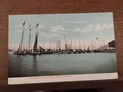 ATLANTIC CITY NEW JERSEY~INLET PIER AND PARTY BOATS AT WHITE WINGS~POSTCARD 1908 ()