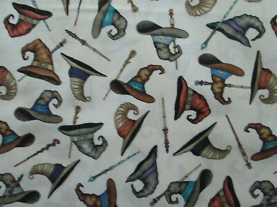 Witch Brooms (WITCH HATS BROOMS WITCHES CREAM COTTON FABRIC)