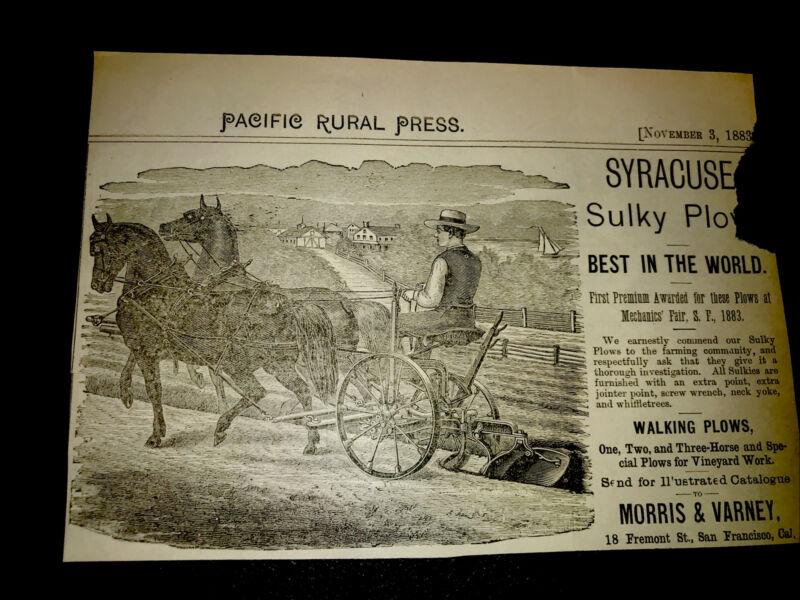 1883 Syracuse Sulky Plow Farm Engraving Advertising - San Francisco - California