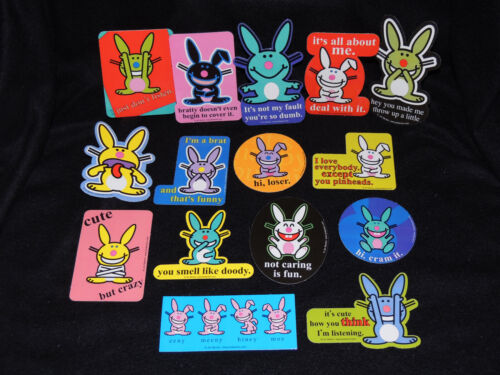 Happy Bunny Series 3 Stickers Set of 15 - RARE Complete Set - New