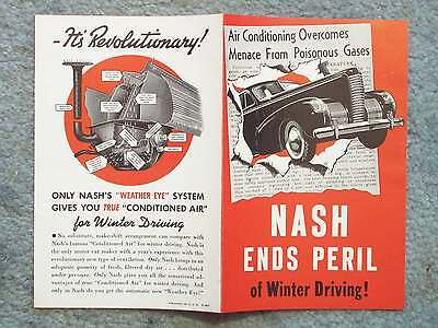 """1938 NASH BROCHURE  """"ENDS PERIL OF WINTER DRIVING"""""""