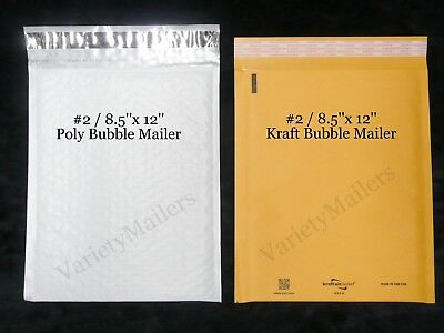 16 Kraft Poly Bubble Envelope Combo 2 8.5x12  Padded Shipping Mailers