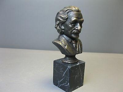 Einstein Figurine Statuette Sculpture Buste 33cm Fonte sur le marbre Culot