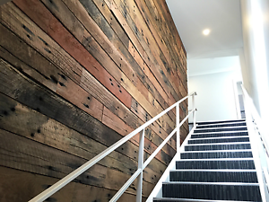 Feature Wall Cladding, DIY System - Rough Sawn Sleeper Recycled T Revesby Bankstown Area Preview