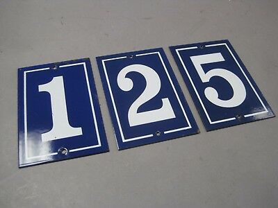 3 Vintage Enameled Porcelain Number Address Plaques Signs Blue & White (European Address Plaque)