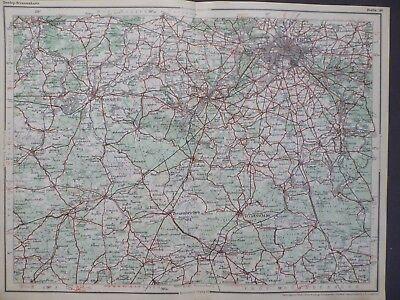 Landkarte Dunlop Strassenkarte 40 Berlin, Potsdam, Brandenburg, Baruth, um 1928