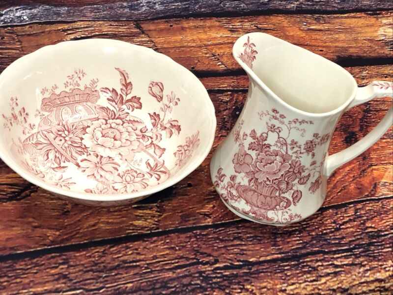 Alfred Meakin Charlotte Staffordshire Pitcher Transferware Red White & Bowl