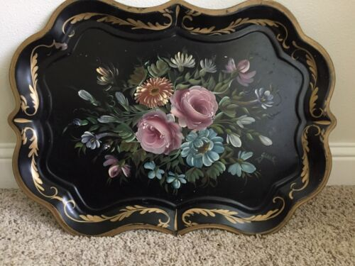 Antique Metal Serving Tray, tole painted