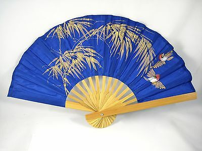 VINTAGE HAND PAINTED SILK BAMBOO FOLDING HAND FAN-MADE IN THAILAND