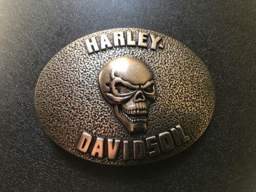Harley-Davidson men's skull trophy belt buckle #97892-11VM.Antique nickel plated