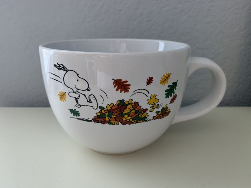 Peanuts Snoopy and Woodstock, Jumping in Leaves, Fall Autumn Large Mug