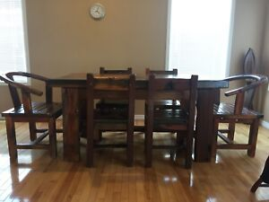 Dining table & 6 chairs made of solid old-ship wood