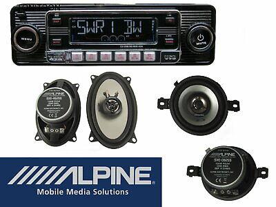 VW Golf 2 Set Retro Radio schwarz Alpine 2 Wege Lautsprecher vorne...