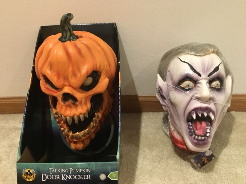 Animated Halloween Talking Pumpkin Door Knocker and Gothic Vampire Head Prop NWT