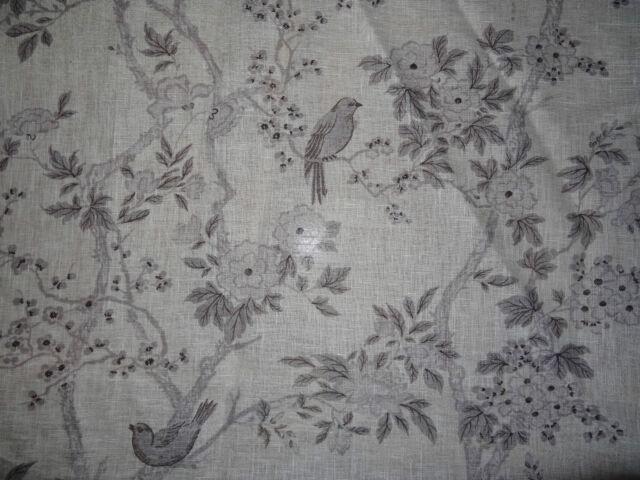 "RALPH LAUREN ""MARLOWE FLORAL SHEER"" 3.6 metres birds linen fabric IVORY/CHARCOAL"
