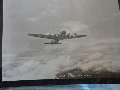 """Orig 1937 Aerial 7x9.5"""" Photo Mt. Rainier Washington US Army Military Plane"""