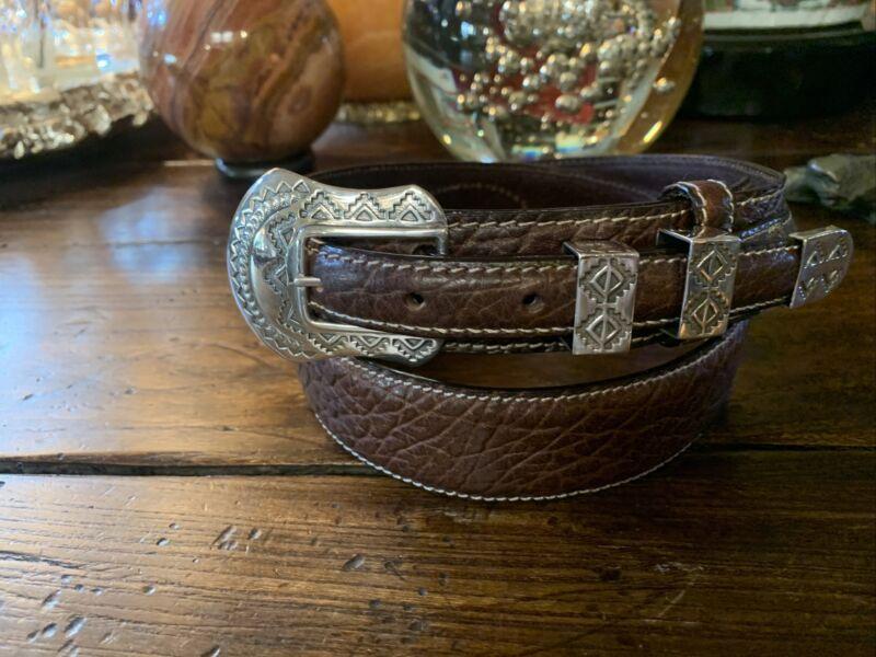 Navajo James Reid style Sterling Silver Belt Buckle Set Nu Strap 34-37✅