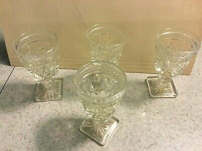 Clear Cut Glass Cordial/Sherry/Brandy Glasses Set Of 4