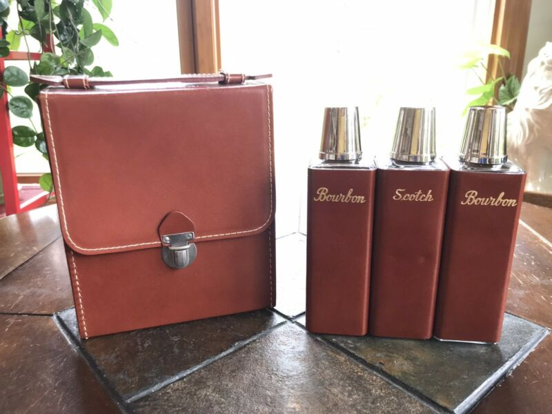 Vintage Travel Flask Set In Case Leather Wrapped Glass Bottles  GERMANY