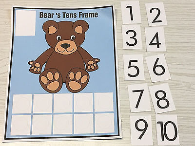 Bears Ten-Frame Counting Mats- Laminated Activity Set - Teaching Supplies