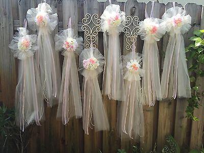 Wedding Pew Bows (6PC PEW TULLE FLOWERS BOWS BlUsh PINK & IVORY WEDDING BRIDE LONG Ivory)