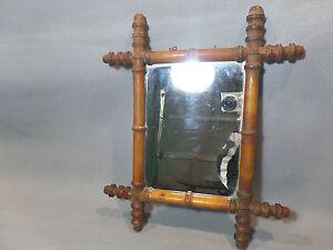 Miroir ancien cadre imitation bambou en bois ebay for Miroir imitation fenetre