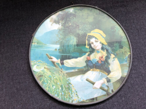 Gorgeous CHIMNEY FLUE COVER German VICTORIAN GIRL ROW BOAT Round Glass Vintage