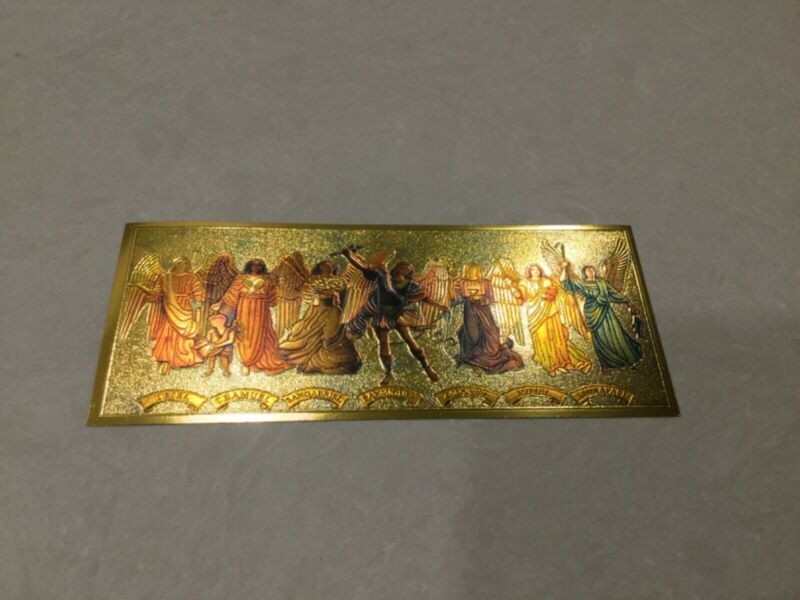 7 Archangels - 7 Acangeles - Gold Color Wallet billl - Money & Protection 1 pc
