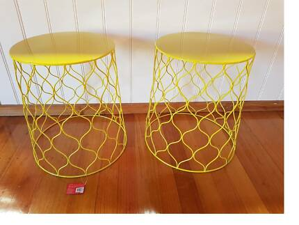 Kmart bedside table furniture gumtree australia free local new 2 x kmart wire side tables yellow keyboard keysfo Images