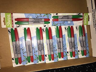 Sharpie Twin-tip Permanent Markers Fineultra Fine Green Red Ink Lot Of 9