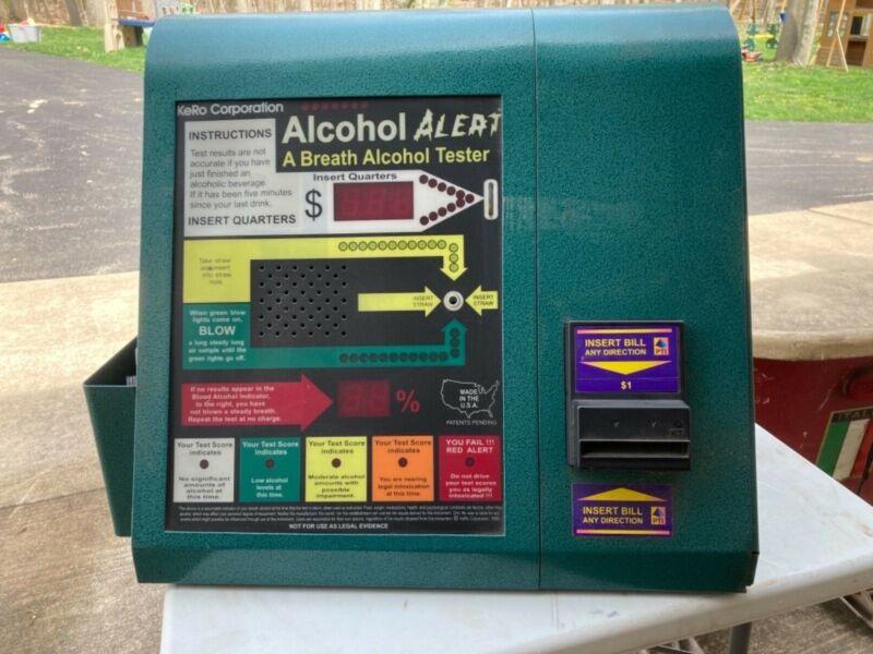 VINTAGE Kero Alcohol Alert Breathalyzer accepts Dollar Bills & Coins