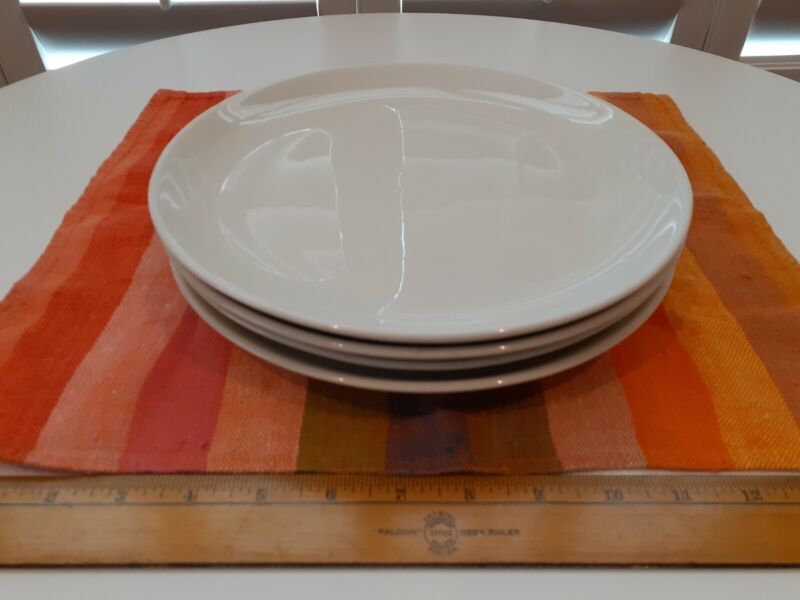 Russel Wright Iroquois Casual White China~Set of 4 Dinner Plates vintage modern.
