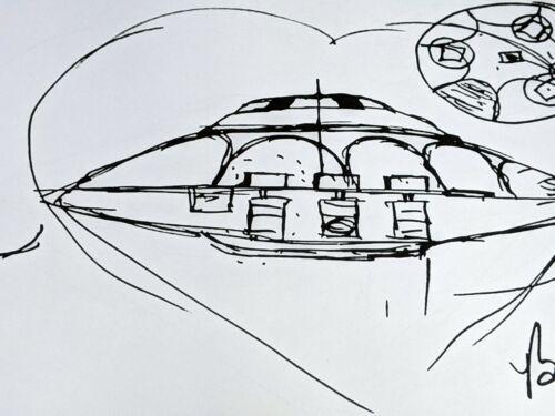 Limited Edition Print Copy of Sport Model UFO Sketch Drawn & Signed by Bob Lazar