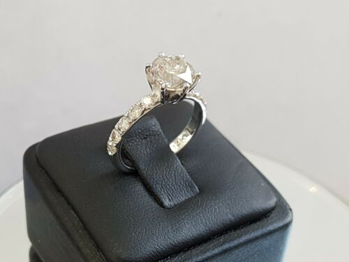 2.40 Ct Round Cut Designer Diamond Engagement Ring 14k White Gold F Si1