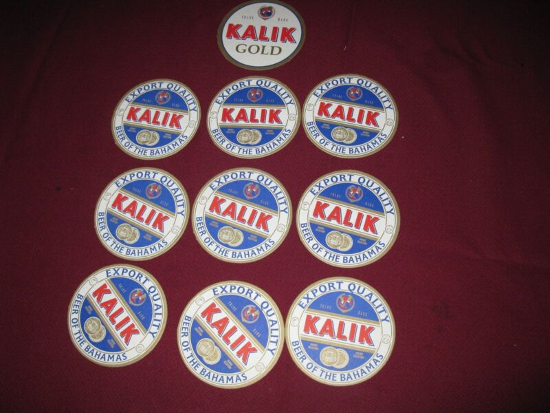 KALIK beer drink coasters lot of 10 same ( beer of the Bahamas)