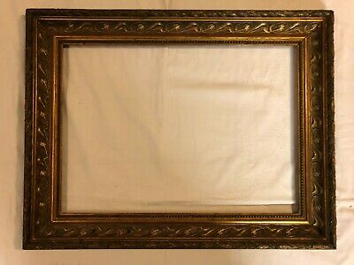 Picture Frame Art Nouveau Old Real Gold Plated Wood Stucco Belgium um 1900 Nr.90