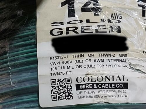 Colonial Wire #14awg Solid THHN/THWN-2/MTW Building Wire Cable Green /100ft