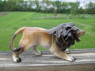 "Vintage 6.5""  Lion Glazed Ceramic Figurine Marked Japan"