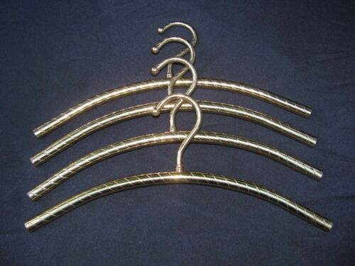 Lot of 4 Vintage Regal Brass Twisted Clothes Coat Hangers Unbranded
