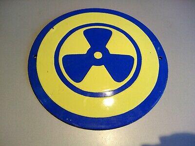 Vintage Tin Porcelain Enamel Sign --Attention !! Source of ionizing radiation